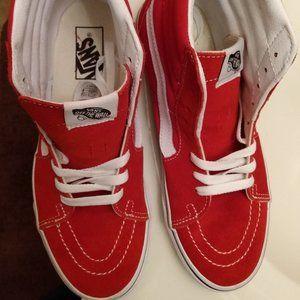 Vans High Top Shoes Red 7 Suede Wmn 8.5